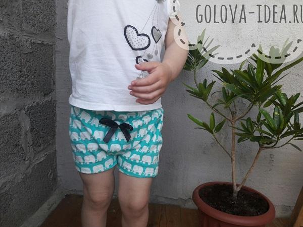 выкройка детских шорт для девочки 2 года