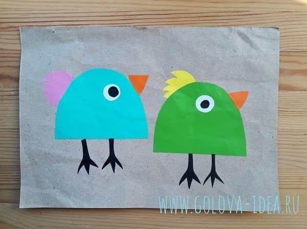 поделка птички из бумаги с ребенком