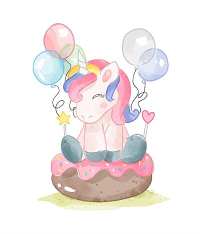 открытка на день рождения ребенка с единорогом