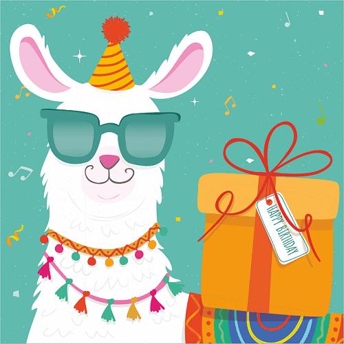 открытка на день рождения ребенка с ламой