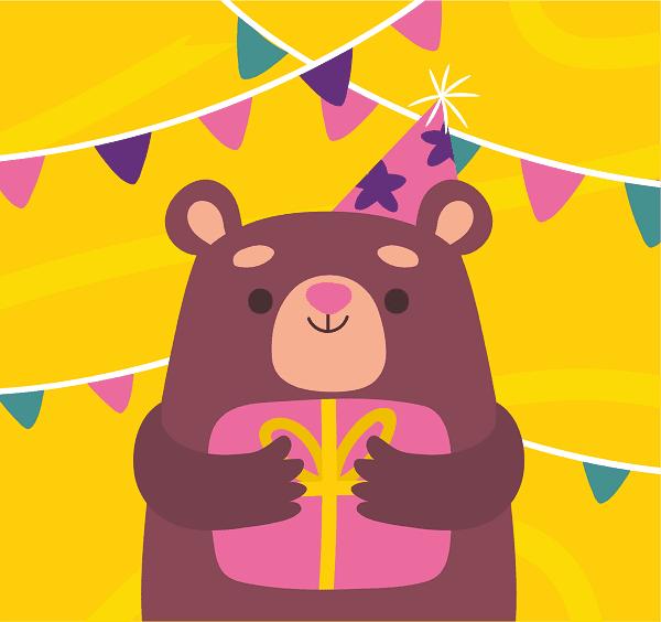 открытка на день рождения ребенка с мишкой с подарком