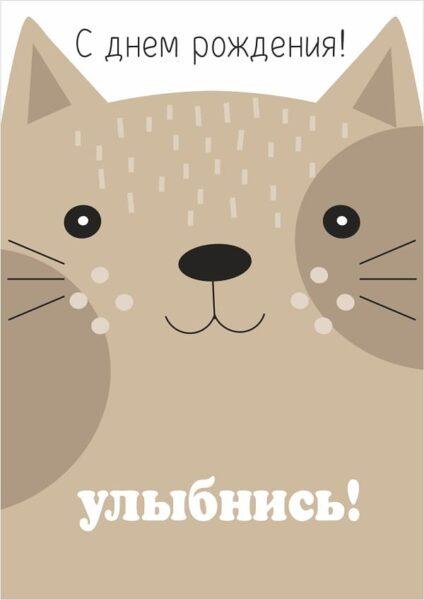 открытка на день рождения  с изображение кота улыбнись
